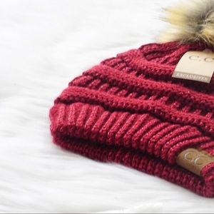 Metallic CC Pom Pom Beanie Burgundy Red Knit